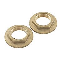 Plumbsure Brass Female Threaded Backnut (Dia)12.7mm, Pack of 2