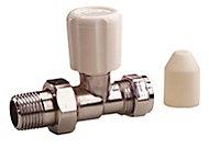 Plumbsure Chrome effect Straight Radiator valve (Dia)8mm