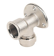 Plumbsure Compression 90° Wallplate Pipe elbow (Dia)15mm