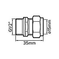 Plumbsure Compression Coupler (Dia)15mm x 12.7mm