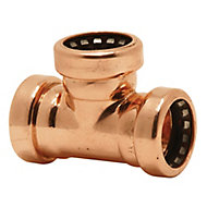 Plumbsure Copper Push-fit Equal Tee (Dia)15mm, Pack of 5