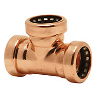 Plumbsure Copper Push-fit Equal Tee (Dia)15mm, Pack of 5