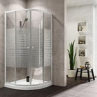 Plumbsure Quadrant Shower enclosure with Double sliding doors & Striped Glass (W)800mm (D)800mm
