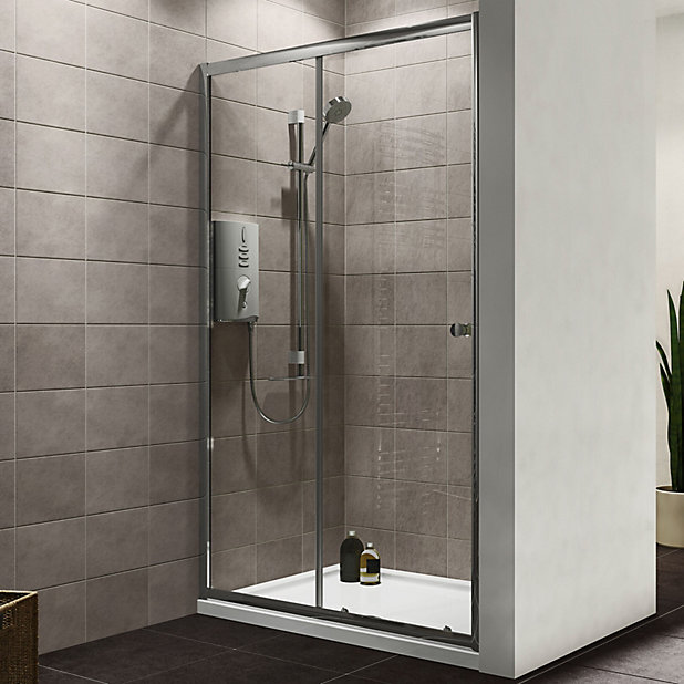 Plumbsure Shower Door With Single Sliding Door W 1200mm Diy At B Q