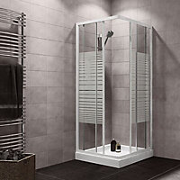 Plumbsure Square Striped Shower Enclosure with Double sliding doors (W)760mm (D)760mm
