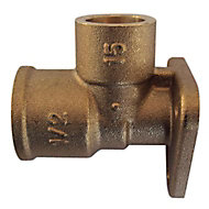 Plumbsure Threaded Wallplate Pipe elbow (Dia)15mm