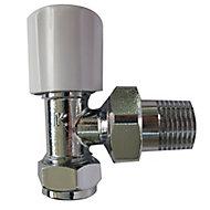 Plumbsure White chrome effect Angled Radiator valve (Dia)15mm