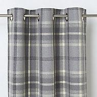 Podor Grey Check Unlined Eyelet Curtain (W)140cm (L)260cm, Single