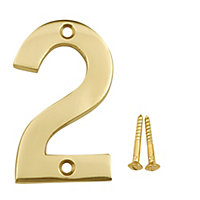 Polished Brass effect Metal House number 2, (H)75mm (W)48mm