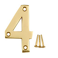 Polished Brass effect Metal House number 4, (H)75mm (W)48mm