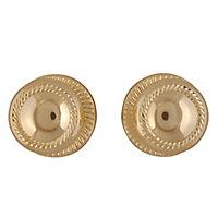 Polished Brass effect Zamac Round Door knob (Dia)49mm, Pair