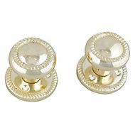 Polished Brass effect Zamac Round Door knob (Dia)58mm, Pair