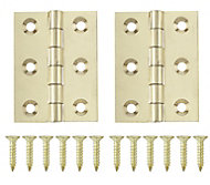 Polished Brass-plated Metal Butt Door hinge (L)50mm, Pack of 2