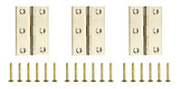Polished Brass-plated Metal Butt Door hinge (L)75mm N162, Pack of 3