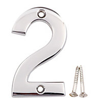 Polished Chrome effect Brass House number 2, (H)75mm (W)48mm