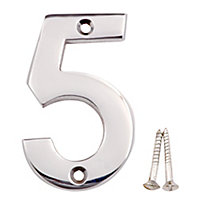 Polished Chrome effect Brass House number 5, (H)75mm (W)48mm
