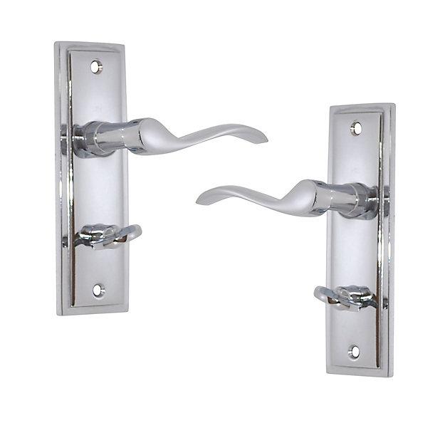 Polished Chrome Effect Internal Scroll Bathroom Door Handle Set Diy At B Q