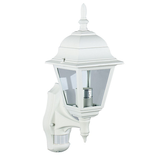 Polperro White Pir Outdoor Wall Light 60w Diy At B Q