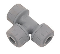 PolyPlumb Grey Push-fit Equal Pipe tee (Dia)10mm x 10mm x 10mm