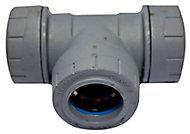 PolyPlumb Grey Push-fit Equal Pipe tee (Dia)28mm x 28mm x 28mm