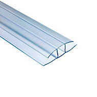 Polywall Polywall Clear H-shaped Profile Jointing strip, (L)2m (W)160mm
