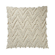 Pondicherry Loop chevron Beige Cushion (L)50cm x (W)50cm