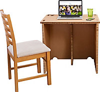 Pop up Matt brown Desk (H)73cm (W)60cm