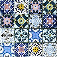 Porto Blush & indigo Glass 2x2 Mosaic tile, (L)300mm (W)300mm