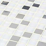 Prate Grey & white Frosted Glass & stainless steel Mosaic tile, (L)300mm (W)300mm
