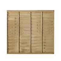 Premier Overlap Lap Pressure treated Fence panel (W)1.83m (H)1.52m, Pack of 4