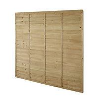 Premier Overlap Lap Pressure treated Fence panel (W)1.83m (H)1.83m, Pack of 3