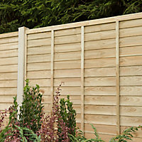 Premier Overlap Lap Pressure treated Fence panel (W)1.83m (H)1.83m, Pack of 5