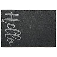 Primeur Fashion Hello Grey Coir & PVC Door mat (L)0.4m (W)0.58m