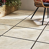 Quartzite Beige Matt Stone effect Porcelain Outdoor Floor tile, Pack of 2, (L)600mm (W)600mm