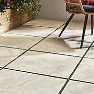 Quartzite Beige Matt Stone Stone effect Porcelain Outdoor Floor tile, Pack of 2, (L)600mm (W)600mm