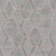 Rasch Geo Grey Wood effect Smooth Wallpaper