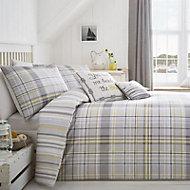 Rathmoore Check Grey & yellow King Bedding set