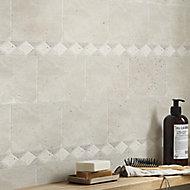 Real tumbled travertine Beige Diamond Natural stone Border tile, (L)315mm (W)67mm