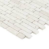 Real tumbled travertine Beige Muretto Natural stone Mosaic tile sheets, (L)310mm (W)305mm