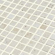 Real tumbled travertine Beige Natural stone 2x2 Mosaic tile sheet, (L)305mm (W)305mm