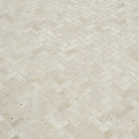 Real tumbled travertine Beige Natural stone Mosaic tile sheet, (L)310mm (W)285mm