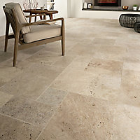 Real tumbled travertine Cream Matt Stone effect Natural stone Floor tile, Pack of 6, (L)610mm (W)406mm