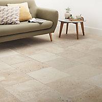 Real tumbled travertine Cream Matt Travertine effect Natural stone Wall & floor Tile, Pack of 4, (L)406mm (W)406mm