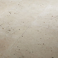 Real tumbled travertine Cream Plain Natural stone Floor tile, Pack of 3, (L)406mm (W)610mm