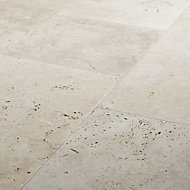 Real tumbled travertine Cream Plain Natural stone Floor tile, Pack of 4, (L)406mm (W)406mm