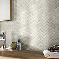 Real tumbled travertino Beige Herringbone Natural stone Mosaic tile sheets, (L)310mm (W)285mm