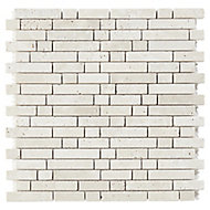 Real tumbled travertino Beige Muretto Natural stone Mosaic tile sheets, (L)310mm (W)305mm