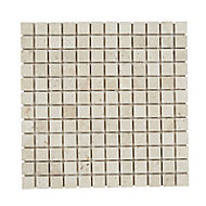 Real tumbled travertino Beige Natural stone Mosaic tile sheets, (L)305mm (W)305mm