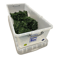 Really Useful Christmas Medium duty Clear 134L Plastic XL Stackable Nestable Storage box