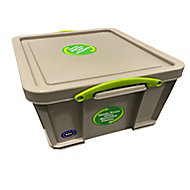 Really Useful Earth Box Heavy duty Grey 35L Plastic Stackable Storage box